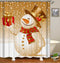 Vintage Colored Christmas Snowman Shower Curtain