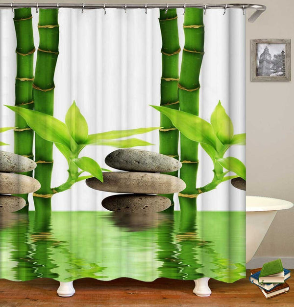 Zen Paddles and Bamboo Shower Curtain