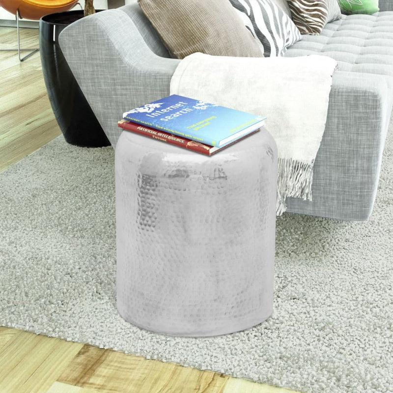Hammered Aluminum Stool Side Table - Silver