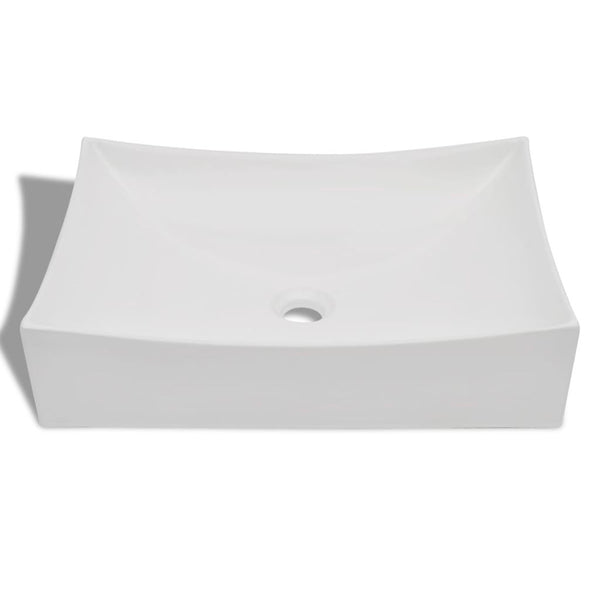 High Gloss Ceramic Porcelain Sink Art Basin - White