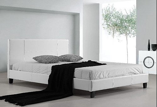 Double PU Leather Bed Frame White – Simply Wholesale