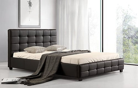 Queen PU Leather Deluxe Bed Frame Black ING-QBGC-Black