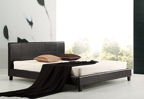 King PU Leather Bed Frame Black