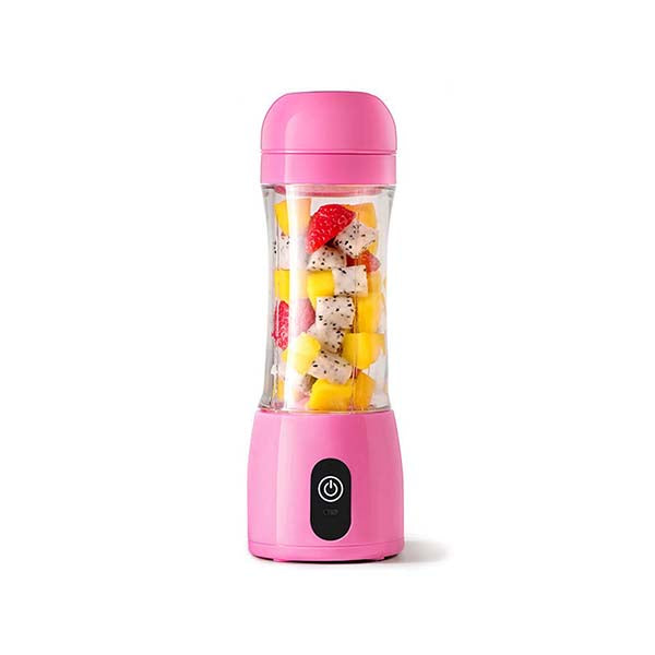 Soga 380Ml Portable Mini Usb Rechargeable Fruit Mixer Juicer Pink