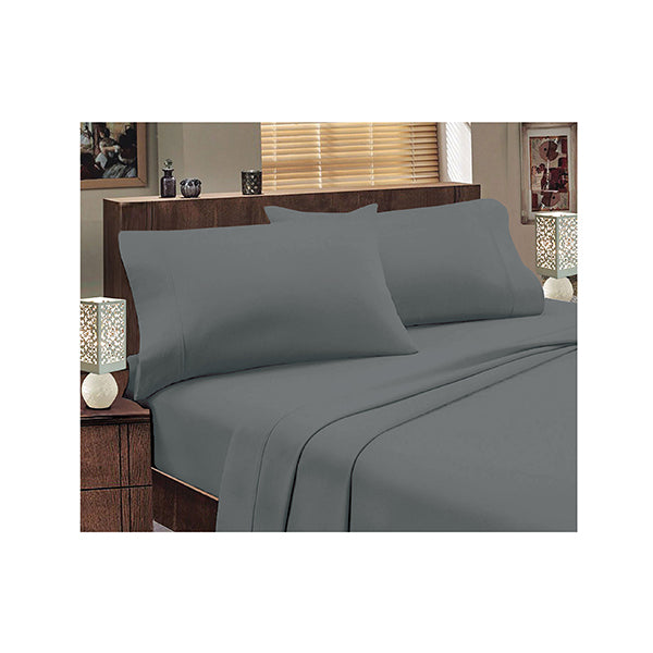 Jenny Mclean Abrazo Flannelette Sheet Set Mega Queen Charcoal