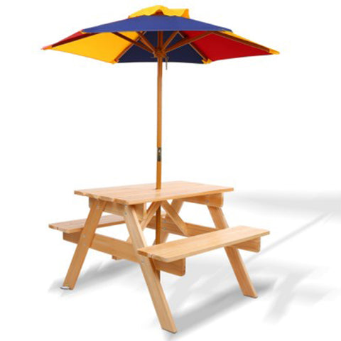 Wooden Picnic Table Set With Umbrella For Kids