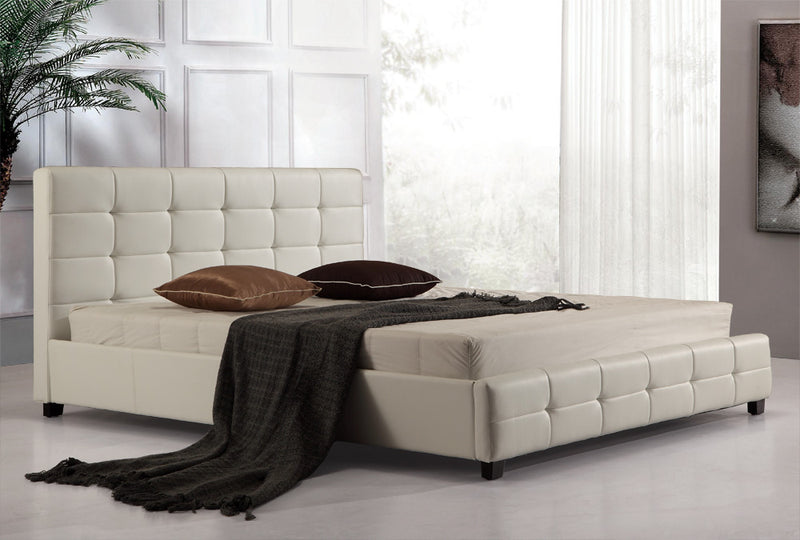 PU Leather Deluxe King Bed Frame White