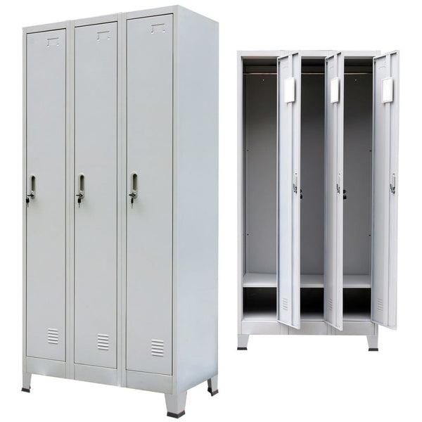 Locker Cabinet with 3 Compartments Steel - Grey
