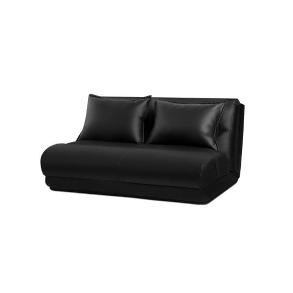 Lounge Sofa Double Floor Recliner Chaise Pu Leather Black