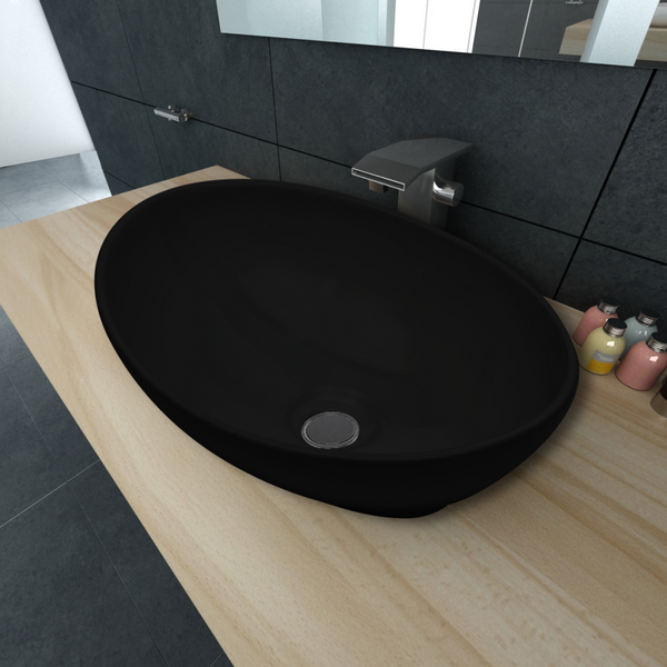 Luxury Ceramic Basin Oval-Shaped Sink - Black (40 x 33 cm)