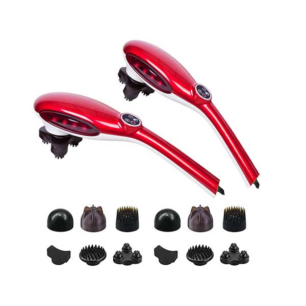 Soga 2X 6 Heads Handheld Massager Stimulate Blood Flow Shoulder Red