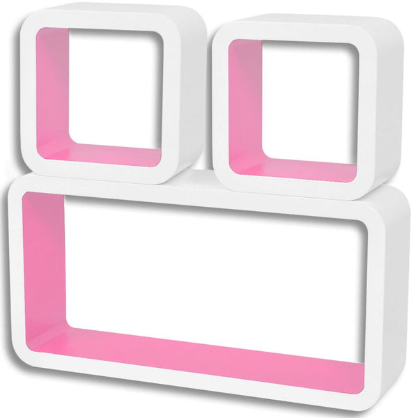 MDF Floating Wall Display Shelf - White-Pink (Set of 3)