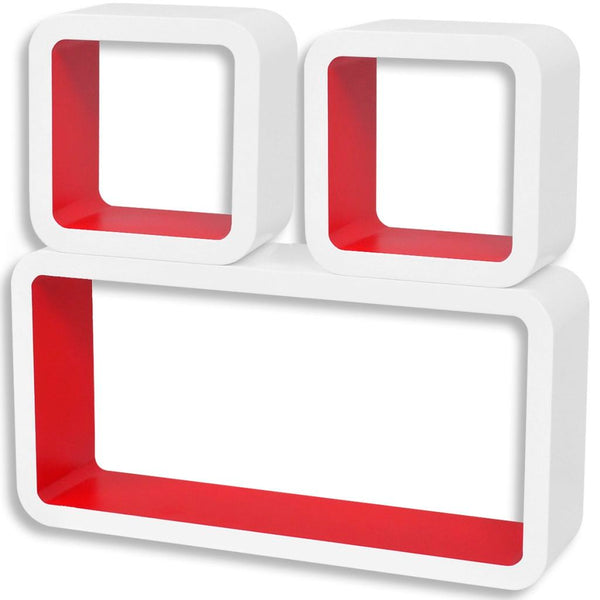 MDF Floating Wall Display Shelf - White-Red (Set of 3)