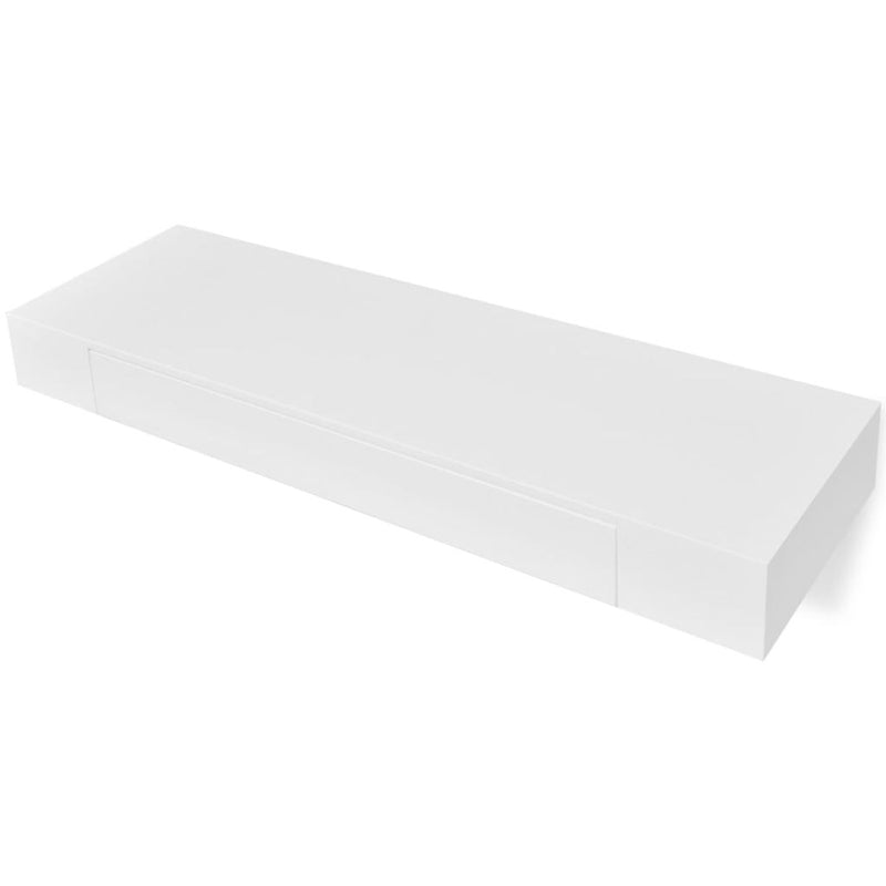 MDF Floating Wall Display Shelf With 1 Drawer - White