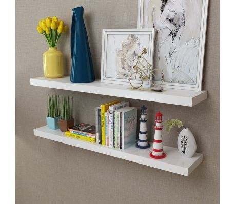 MDF Floating Wall Display Shelves Book Storage (2 Pcs) - White
