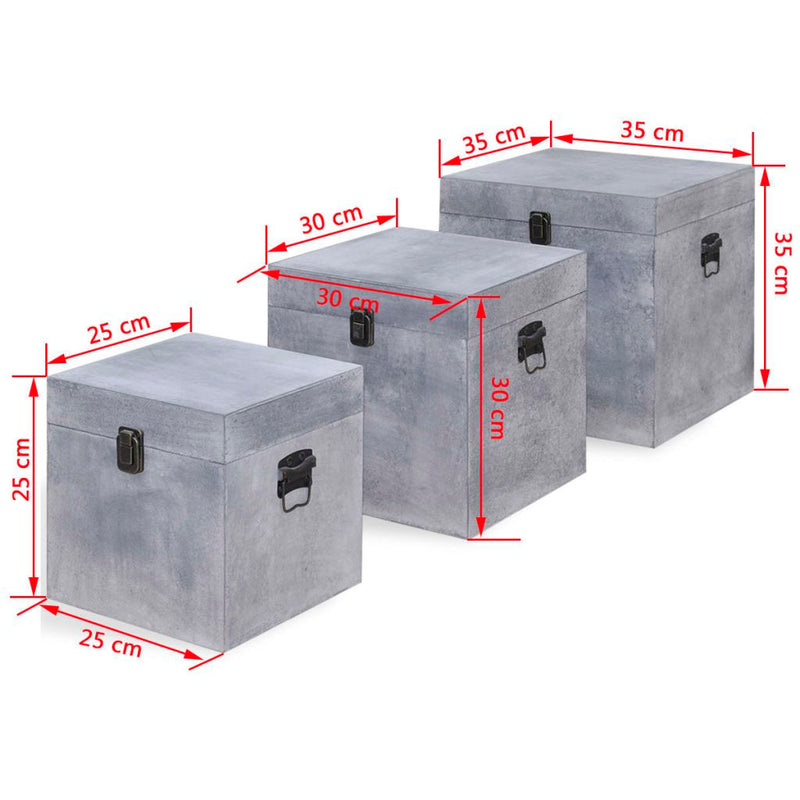 MDF Storage Box Concrete Square (3 Pcs) - Grey
