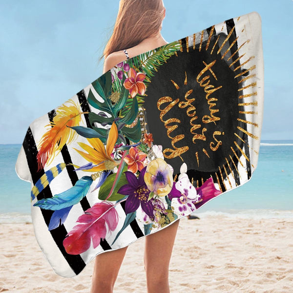 Tropical Flowers Encouragement Microfiber Beach Towel