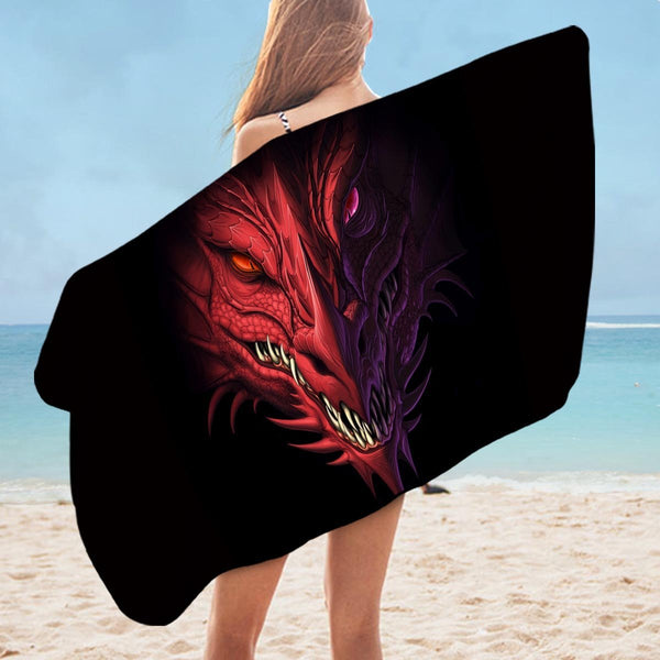 Scary Dragon Microfiber Beach Towel