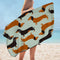 Dachshund Dogs Pattern Microfiber Beach Towel