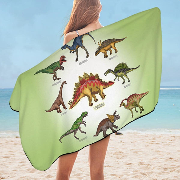 Multi Colored Dinosaurs Microfiber Beach Towel
