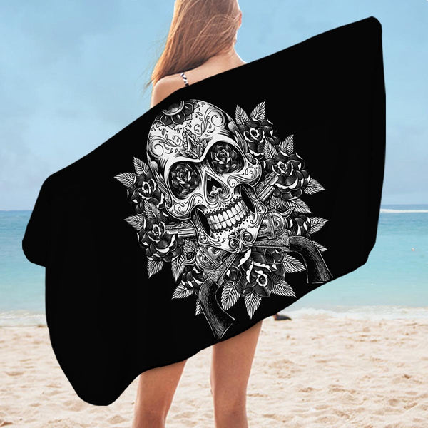 Black and White Skull Guns and Roses Microfiber Beach Towel
