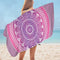 Purplish Mandala Over White Microfiber Beach Towel