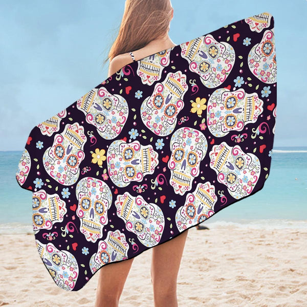 Sugar Skull Pattern Microfiber Beach Towel