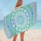 Green and Blue Hues Mandala Microfiber Beach Towel