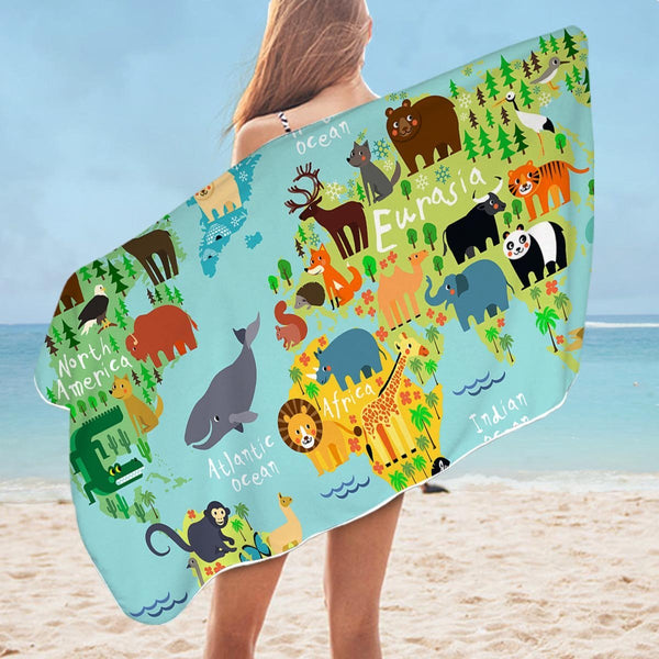 Animal World Map Microfiber Beach Towel