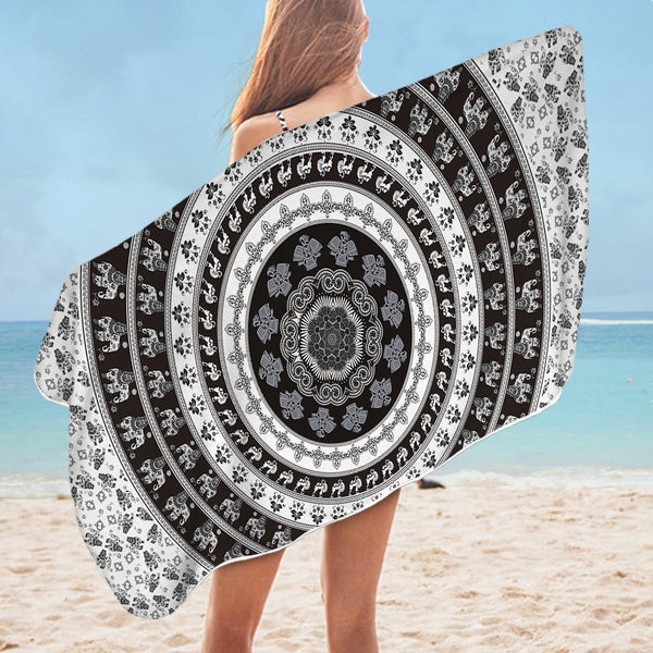 Black and White Elephant Mandala Microfiber Beach Towel