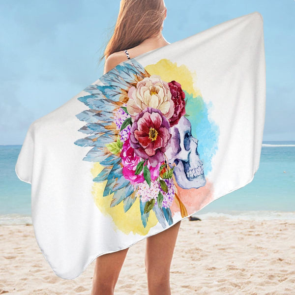 Pastel Color Floral Chief Skull Microfiber Beach Towel