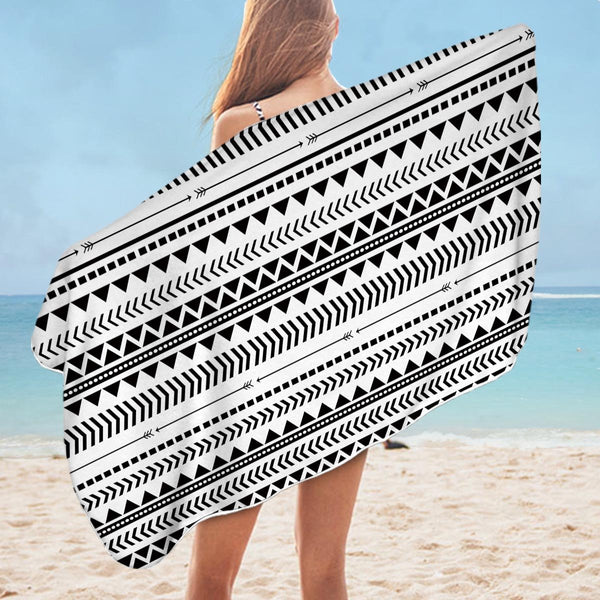 Black and White Tribe Design Microfiber Beach Towel