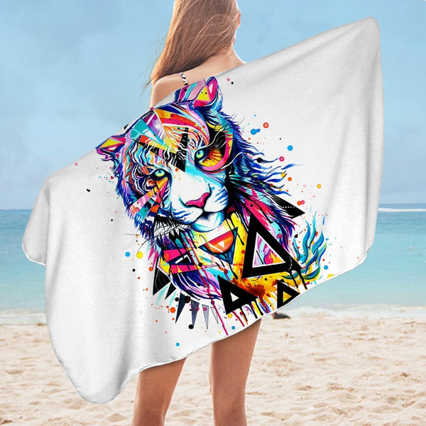 Colorful Art Lion Microfiber Beach Towel