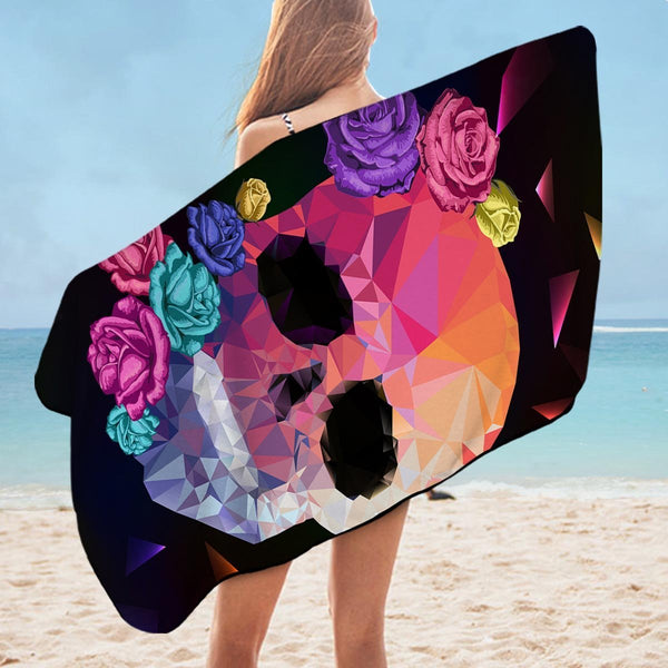 Artistic Skull and Roses Microfiber Beach Towel