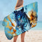 Blue Tiger and Fish Microfiber Beach Towel