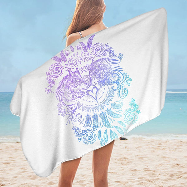 Modest Design of Wolfs Microfiber Beach Towel