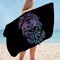 Purplish and Blue Wolfs Over Black Microfiber Beach Towel