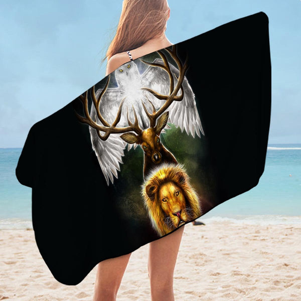 Owl Deer and Lion Microfiber Beach Towel