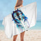 Blue Watercolor Wolf Microfiber Beach Towel