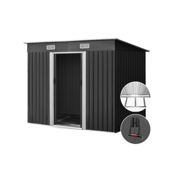 Metal Base Garden Shed - Grey