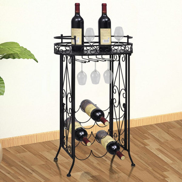 Metal Wine Rack/Table with Hooks for 9 Bottles