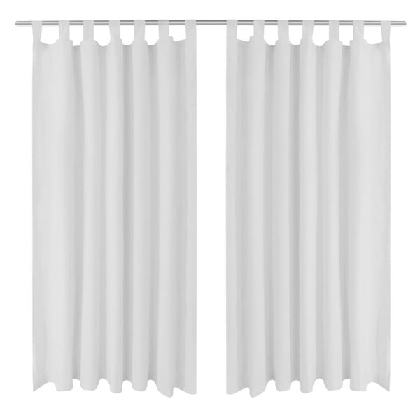 Micro-Satin Curtains With Loops 140 x 225 Cm (2 Pcs) - White