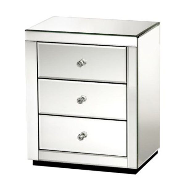 Mirrored Bedside Table Drawers Glass Presia