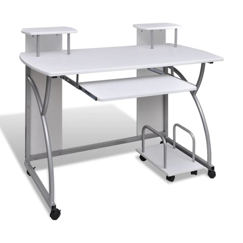 Mobile Computer Desk Pull Out Tray Table - White