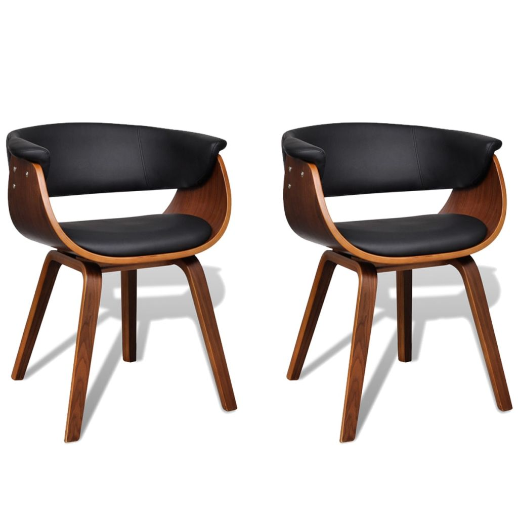Modern Artificial Leather Wood Dining Chair (Set of 2)