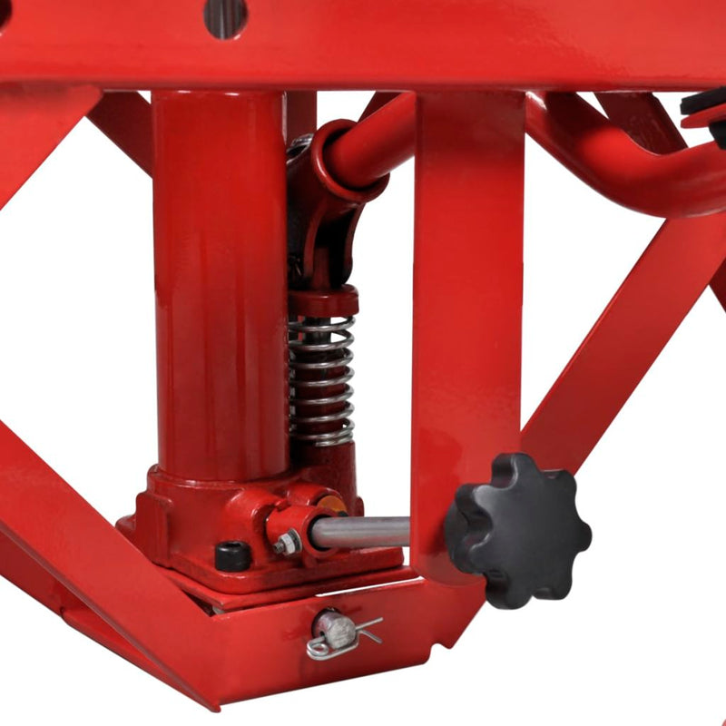 Motorcycle Lift With Foot Pad, Locking Bar & Release Valve - Red