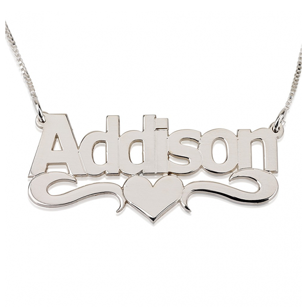 Bold Name Necklace with Heart