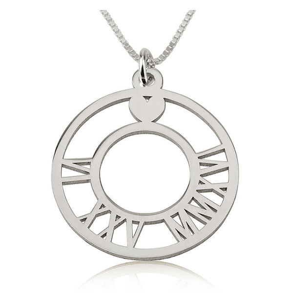 Circle Roman Numeral Necklace