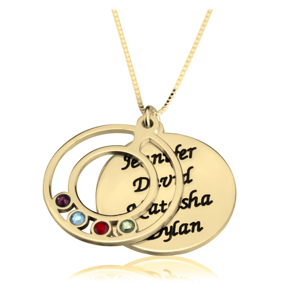 Engraved Name and Birthstone Mothers Necklace