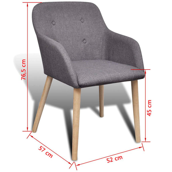 Oak Fabric Dining Chair With Armrest Dark Grey Set Of 6 Simply